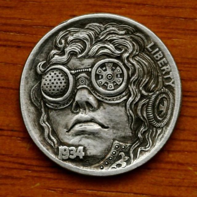 5セント硬貨を彫刻した作品、ホーボー・ニッケルの写真