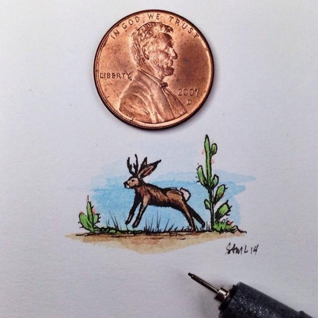 極小サイズの絵を描く画家である「サム・ラーソン」のミニチュアイラスト