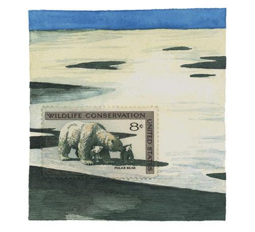 想像力を駆使して描かれた切手の外側